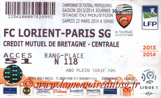 Ticket  Lorient-PSG  2013-14