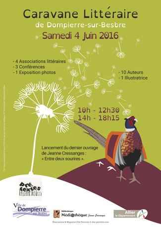 Affiche réalisée par la graphiste Cloé Perrotin pour le salon du livre de Dompierre-sur-Besbre dans l'Allier en juin 2016