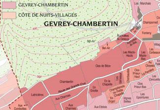 Carte du vignoble de Gevrey-Chambertin en Bourgogne. Extrait du livre Les Vins de Bourgogne - Gotti-Pitiot - Collection Pierre Poupon