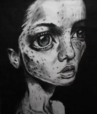 Porträt III, Kohle/Pastell auf Papier, 1 x 1m