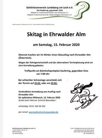 Skitag wird verschoben auf 22.02.2020!