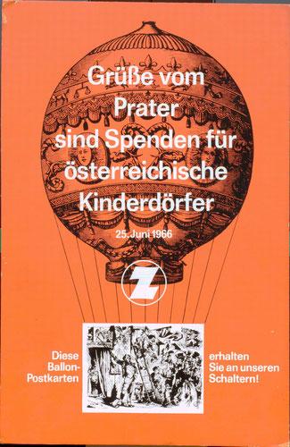 Grüsse vom Prater sind Spenden für österreichische Kinderdörfer. Aufsteller, Grafik von Heinz Traimer 1966