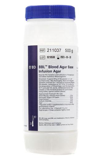 211037 BD BBL™ Base de Agar Sangre, 500 g