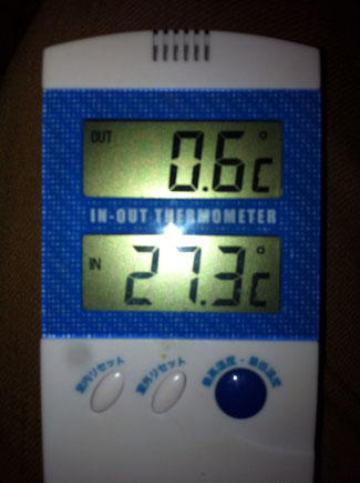 真夜中のテントの中は27度の夏日。