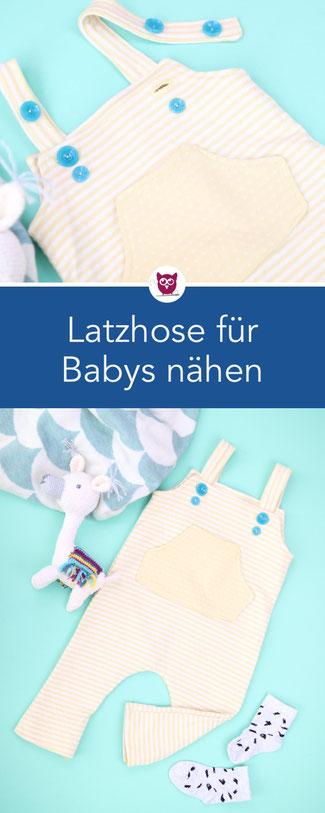 [Werbung] Latzhose nähen für Babys mit Stoff und Schnittmuster von Little Darling – einfache Nähanleitung aus Double Face Jersey. Mit Videoanleitung von DIY Eule.