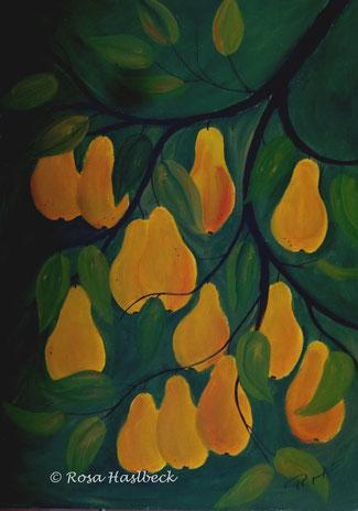 Acrylbild, acryl, birnen, obst, früchte,  herbst, gelb, braun,  bild, malen, malerei, kunst, geko, dekoration, wandbild, abstrakt, kaufen, schenken