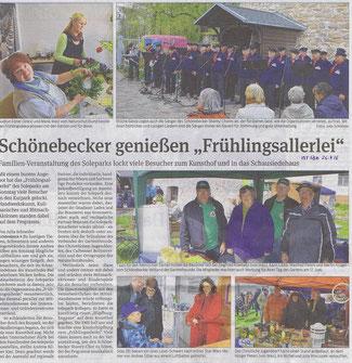 Volksstimme Schönebeck vom 26. April 2016 (Julia Schneider)