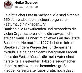 Bild: Sperber Festumzug Wünschendorf