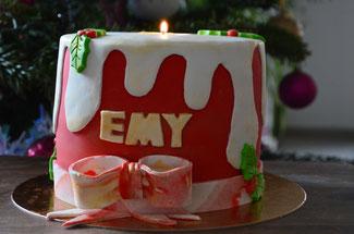 Molly cake, ganache montée chocolat lait, bougie, cake design
