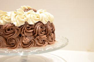 rose cake chocolat, chantilly, ganache chocolat