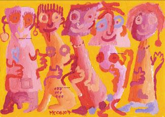 """""""Buntlinge"""".  Acryl auf Papier  24/17 cm 06/04"""