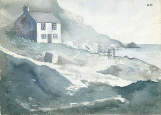 Watercolour painting of Lamorna Cove painted by Kenneth Trezise in the c. 1958 (from Haydn Trezise, February 2021).