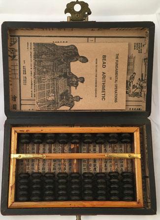"""Ábaco """"son pan"""", 9 columnas, con caja e instrucciones, 17x10 cm"""