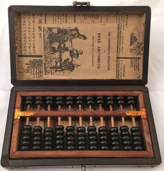 """Ábaco """"son pan"""", 11 columnas, con caja e instrucciones, 21x11 cm"""