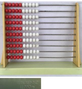 Ábaco europeo (ruso), 10 filas de 10 bolas cada una, 14x11 cm