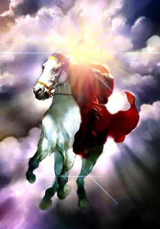 Jésus est apparu le premier sur un cheval blanc revêtu d'un vêtement teint de sang. Mais il n'est pas seul. Derrière lui, sous son commandement, les armées célestes le suivent. Les armées qui sont dans le ciel le suivaient sur des chevaux blancs, revêtues