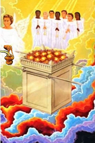 Un encensoir est un vase brûle parfum suspendu à des chaînette. L'encensoir d'or a servi à brûler les parfums sur l'autel d'or qui se trouve devant le trône de Dieu ; la fumée de ces parfums s'est élevée devant Dieu avec les prières des saints.