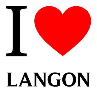 j'aime langon écrit avec un coeur rouge