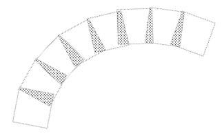 曲線の場合、常にタイルの一部が重なる