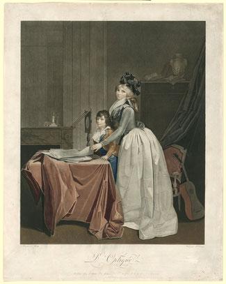 J.F. Cazenave d'après Louis-Léopold Boilly, Portrait de Louise-Sébastienne Gély avec un enfant devant un optique,  1794, Amsterdam, Rijksmuseum