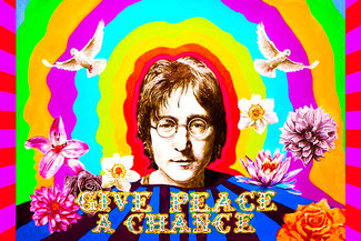 John Lennon poster Give Peace a Chance describes the About page of Savvy & Free