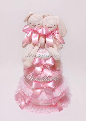 """Подарок для новорожденных девочек двойняшек или близнецов - торт из памперсов  """"Кролики- пушистики"""""""