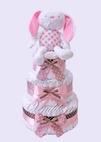 """Подарок из памперсов в виде торта для девочки """"Зайка- Розовые Ушки"""""""