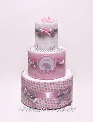 """Торт из памперсов  и пелёнок для девочки """" Розовый слоненок"""""""