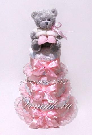 Подарок из подгузников для новорожденной девочки в виде торта