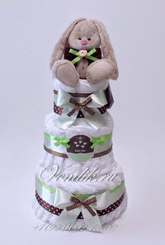 """Торт из памперсов  универсальный """"Заюшка Ми """"   (Мятный шоколад)"""