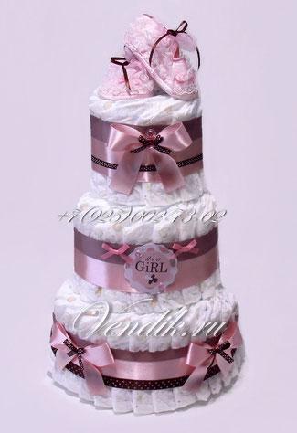 """Торт из памперсов  розово коричневый для девочки """"Первые башмачки"""""""