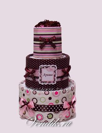 """Памперсный торт со стильными пелёнками для малышки-девочки """"Шоколадная сказка"""""""