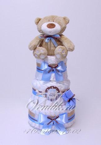 """Подарок новорожденному памперсный торт """"Медвежонок малыш"""""""