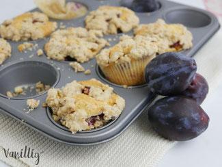 Rezept Zwetschgen Muffins mit Streuseln