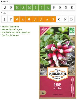 "Radies Saatgut ""Radis 18 Tage""  von Ferme de Saint Marthe bei www.the-golden-rabbit.de"