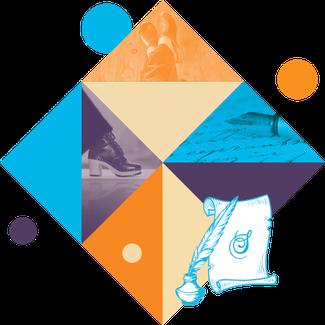 Ce visuel géométrique représente la page des messages clients, avec une composition de photo, un parchemin avec le sceau des sabots d'isa, une plume et un encrier façon BD