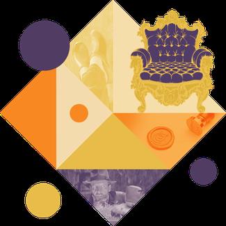 Cette image représente un visuel géométrique, dans des couleurs vintage, et un fauteuil royal, ainsi que la tête d'indiana jones, pour illustrer la page des faux people en sabots d'isa