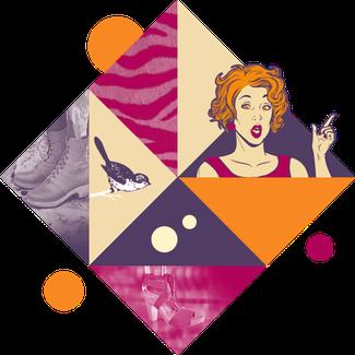 Cette image représente un superbe visuel qui illustre les sabots suédois pour femme, avec une jolie pt'ite dame, un oiseau, un détail de bottines, etc