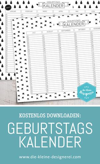 Free Download: Geburtstagskalender mit Liebe zu reduzierten, skandinavischen Schwarz-Weiß Mustern. www.die-kleine-designerei.com