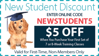 New Student Discount Coupon for $5 off training session. Online Discount Code:  NEWSTUDENT5
