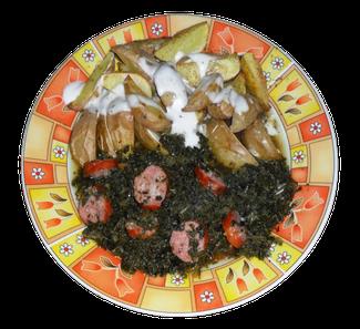 Ofenkartoffeln mit Grünkohl und Knacker