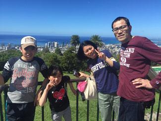 ハワイオアフ島貸切観光ツアーにてタンタラスの丘からOさんご一家4名様