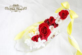 プロポーズ アンバサダーホテル  ガラスの靴 刻印 プリザーブドフラワー オーダーフラワー  シュシュ