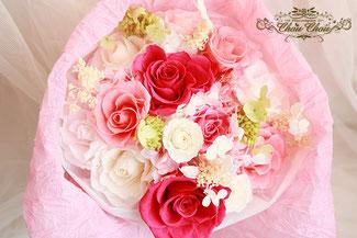 プロポーズ 沖縄 チャペル プリザーブドフラワー 花束 ガラスドーム  刻印 オーダーフラワー  シュシュ