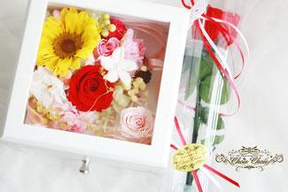 プロポーズ ジュエリーボックス 1輪のバラ ひまわり 旅行 バラ フラワーリング
