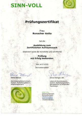 zertifizierter Aufräumcoach / Ordnungscoach Anita Ronacher