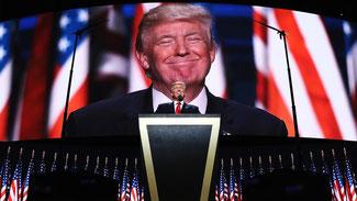 Donald Trump während seiner Grundsatzrede auf dem Nominierungsparteitag der Republikaner in Cleveland © John Moore/Getty Images