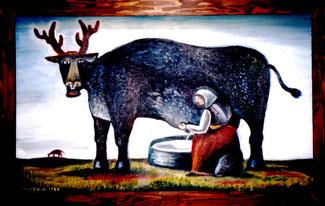 スズキコージ 「ちちしぼり」油絵 59.5×99.5
