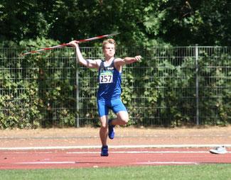 Mathis Morlo wurde mit 44,15 Metern Zweiter im Speewurf der M15. (Foto: Roman Buhl)