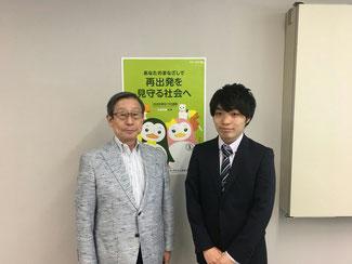 日本BBS連盟の戸田会長(左)と本連盟の與那城会長(右)